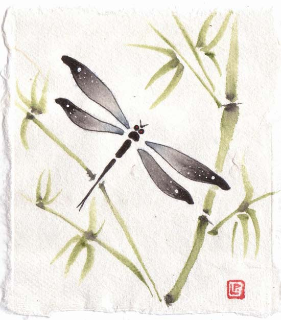 Dragonfly Picture with Bamboo