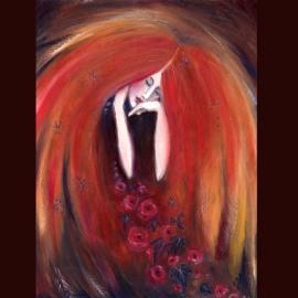AUTUMN ANGEL~original oil painting of an autumn goddess~