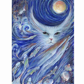 Cat anf fish dream art painting in blue