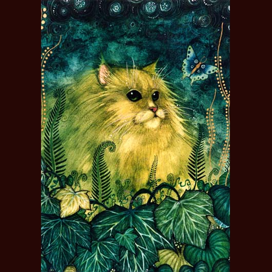 GREEN CAT ~original watercolor cat painting~