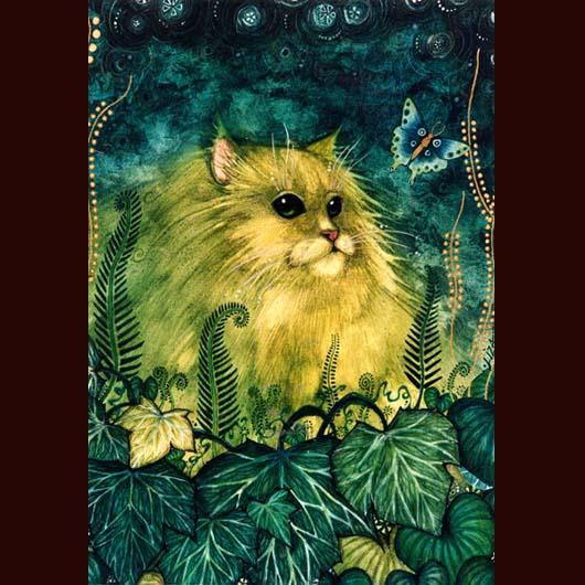 GREEN CAT ~original watercolor cat painting~