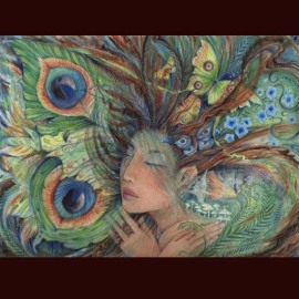 GREEN LADY~original watercolour painting of a nature goddess~