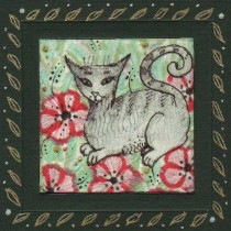 poppy cat miniature painting