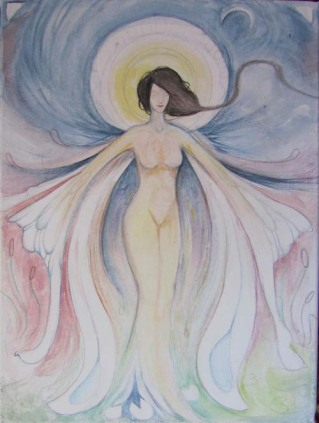 Luna moth fairy painting
