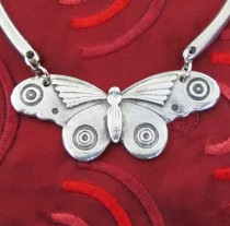 Pewter butterfly necklace chocker art deco by liza paizis