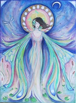 luna moth fairy painting by liza paizis