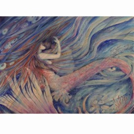 Merrow mermaid kiss romantic painting