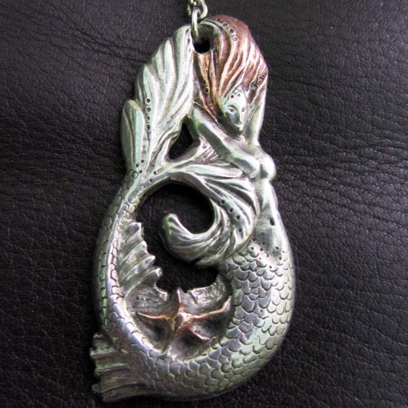 Mermaid pewter keyring by Liza Paizis