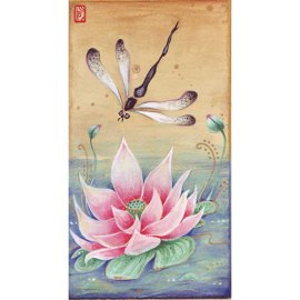 Lotus and Dragonfly Chinese painting