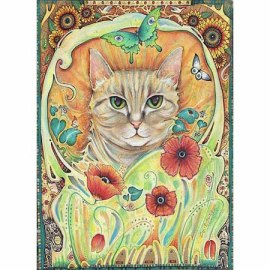cat art nouveau painting