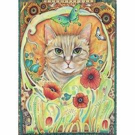 cat art nouveau painting