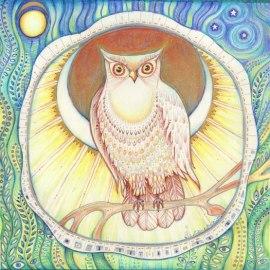 Moon Owl folk art print