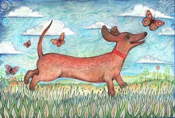 Dachshund painting whimsical dog art dachshund lover gift