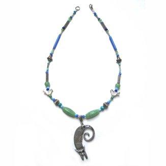 cat necklace czech beads birds fish