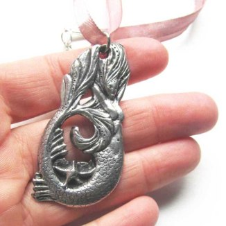mermaid pewter necklace