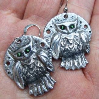 Owl Earrings with green glass eyes