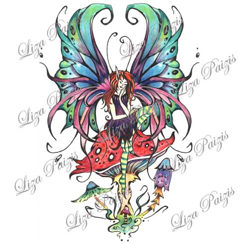 fairy gothic tattoo design on mushroom