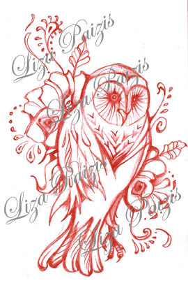 red owl tattoo design with flowers