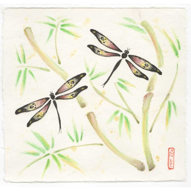 dragonfly bamboo painting