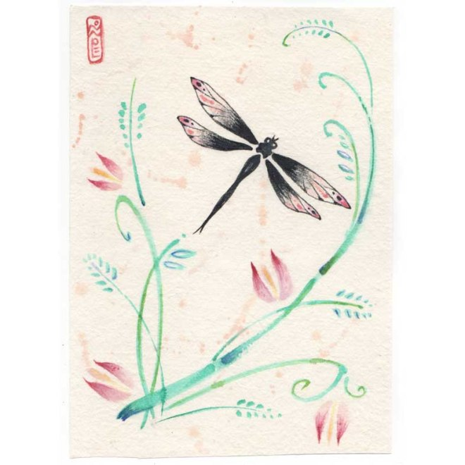 dragonfly sumi-e painting