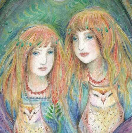 sisters owls art