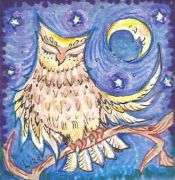 Sleepy owl miniature painting