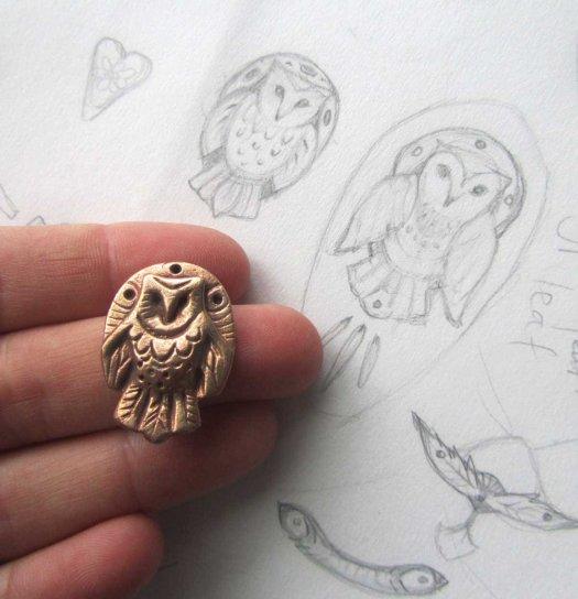 bronze barn owl totem