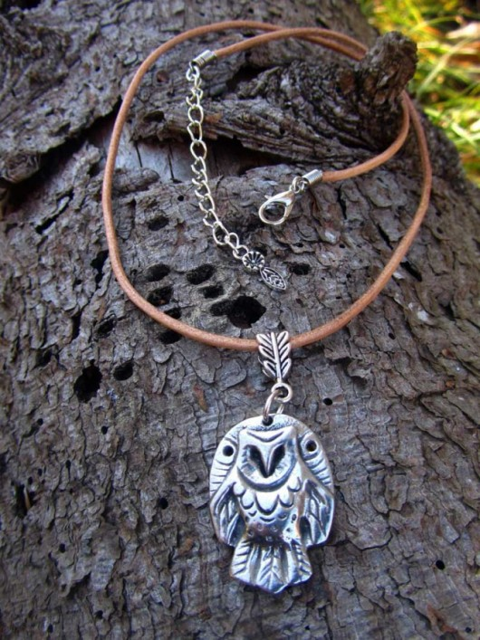 Owl pewter pendant necklace