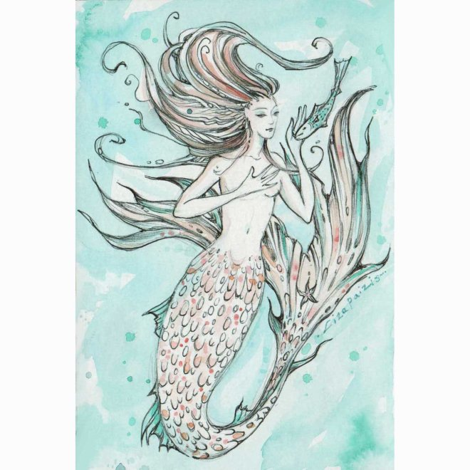 blue mermaid painting