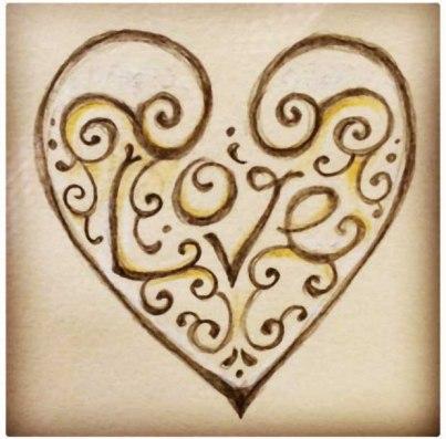 love heart tattoo design